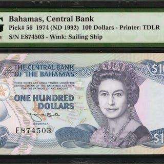 BAHAMAS. Central Bank of Bahamas. 100 Dollars, 1974 (ND 1992). P-56.