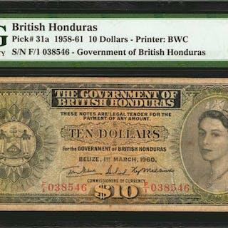 BRITISH HONDURAS. Government of British Honduras. 10 Dollars, 1958-61.