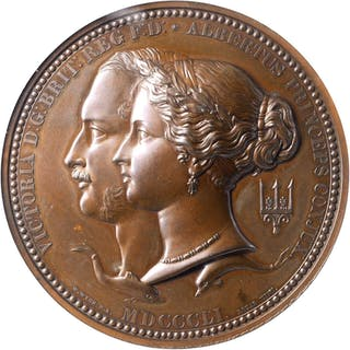 GREAT BRITAIN. Great Exhibition Bronze Prize Medal, 1851. NGC MS-63 BN.