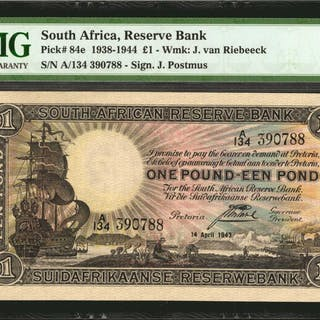 SOUTH AFRICA. South African Reserve Bank. 1 Pound, 1938-1944. P-84e.