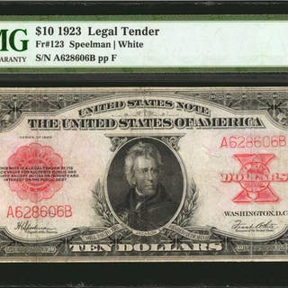 Fr. 123. 1923 $10  Legal Tender Note. PMG Very Fine 25 Net. Restoration.