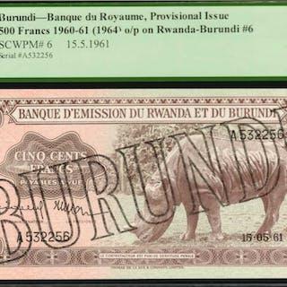 BURUNDI. Banque du Royaume, Provisional Issue. 500 Francs, 1960-61
