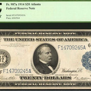 Fr. 987a. 1914 $20  Federal Reserve Note. Atlanta. PCGS Currency Very Fine 35.