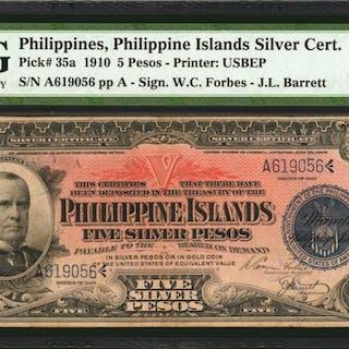 PHILIPPINES. Philippine Islands Silver Certificate. 5 Pesos, 1910.