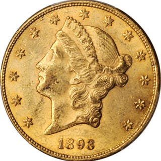 1893-CC Liberty Head Double Eagle. AU-58 (PCGS).