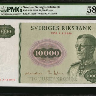 SWEDEN. Sveriges Riksbank. 10,000 Kronor, 1958. P-49. PMG Choice About