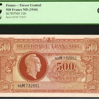 FRANCE. Republique Francaise. 500 Francs, ND (1944). P-106. PCGS Currency