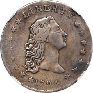 1794 Flowing Hair Silver Dollar. BB-1, B-1. Rarity-4. Genuine--Extensively