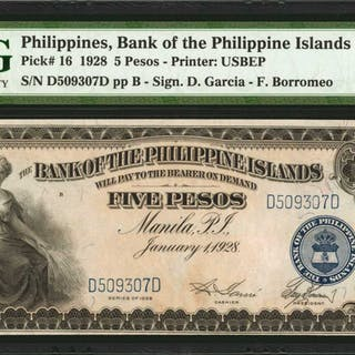 PHILIPPINES. Bank of The Philippine Islands. 5, 10, & 20 Pesos, 1928.