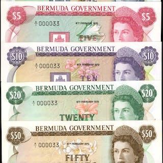 BERMUDA. Bermuda Government. 1 to 50 Dollars, 1970. P-23 to 27. Matching