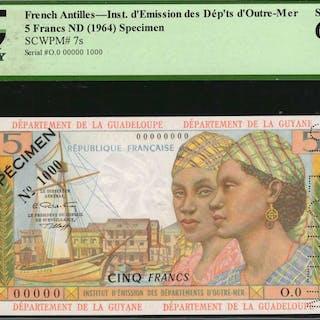FRENCH ANTILLES. Republique Francaise. 5 Francs, ND (1964). P-7s.