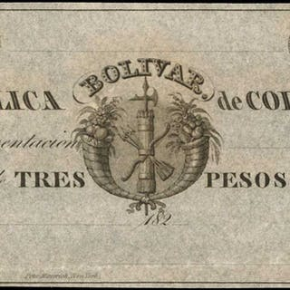 COLOMBIA. Republica de Colombia. 3 Pesos, ND (182x). P-7. Remainder.