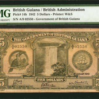 BRITISH GUIANA. Government of British Guiana. 5 Dollars, 1942. P-14b.