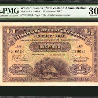WESTERN SAMOA. New Zealand Administration. 1 Pound, 1959-61. P-8Ab.