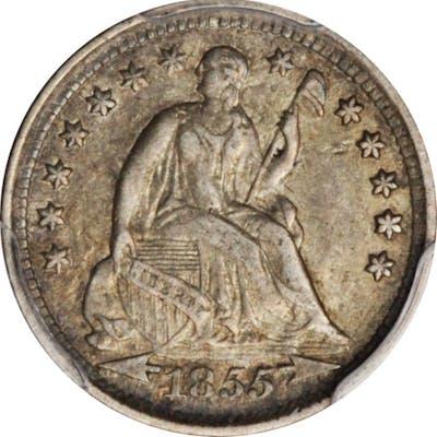 1855 Liberty Seated Half Dime. Arrows. EF-45 (PCGS).