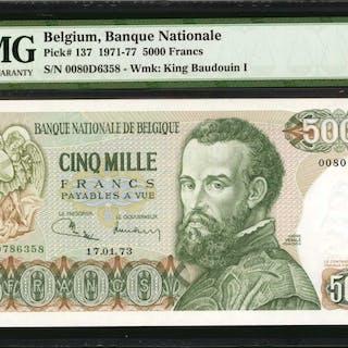 BELGIUM. Banque Nationale de Belgique. 5000 Francs, 1971-77. P-137.