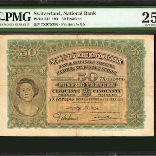 SWITZERLAND. Swiss National Bank. 50 Franken, 1931. P-34f. PMG Very Fine 25.