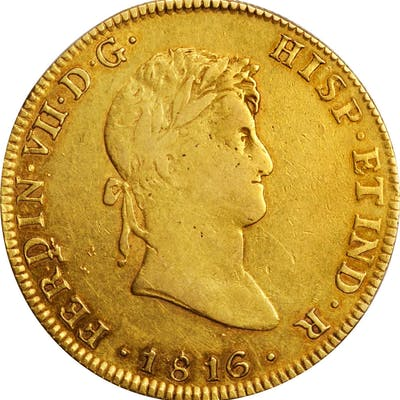 MEXICO. 8 Escudos, 1816-Mo JJ. Mexico City Mint. Ferdinand VII. VERY FINE.