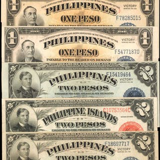 PHILIPPINES. Philippines Commonwealth. 1 to 5 Pesos, Mixed Dates.
