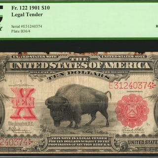 Fr. 122. 1901 $10  Legal Tender Note. PCGS Currency Fine 12 Apparent.