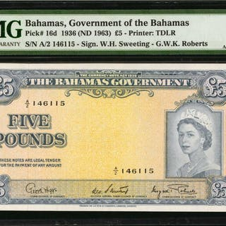 BAHAMAS. Government of Bahamas. 5 Pounds, 1936 (ND 1963). P-16d. PMG
