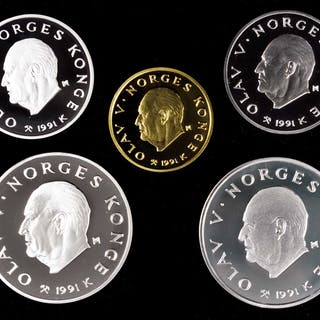NORWAY. Gold and Silver Olympic Proof Set I (5 Pieces), 1991. Average