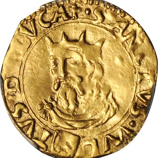 ITALY. Lucca. Scudo d'Oro, ND (1552). PCGS Genuine--Cleaned, AU Details