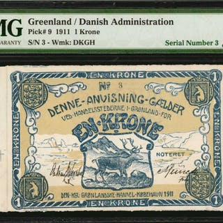 GREENLAND. Danish Administration. 1 Krone, 1911. P-9. Low Serial Number