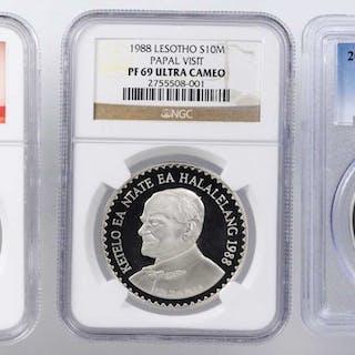 MIXED LOTS. Silver John Paul II Commemoratives (3 Pieces), 1988-2014.