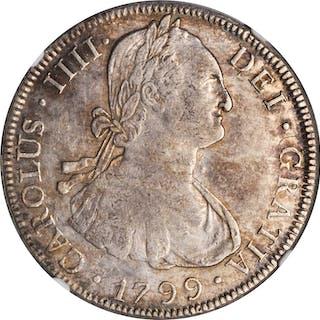 BOLIVIA. 8 Reales, 1799-PTS PP. Potosi Mint. Charles IV. NGC AU-53.