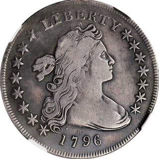1796 Draped Bust Silver Dollar. BB-61, B-4. Small Date, Large Letters.