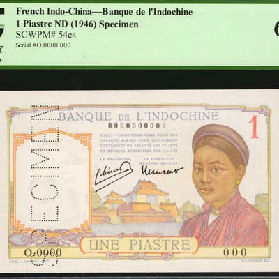 FRENCH INDO-CHINA. Banque de l'Indochine. 1 Piastre, ND (1946). P-54cs.
