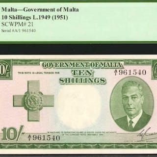MALTA. Government of Malta. 10 Shillings, 1949 (1951). P-21. PCGS