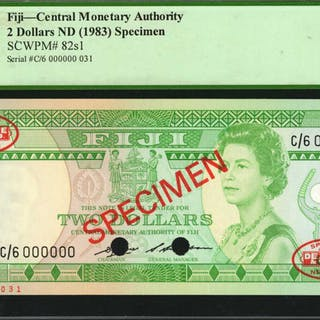 FIJI. Central Monetary Authority. 2 Dollars, ND (1983). P-82s1. Specimen.