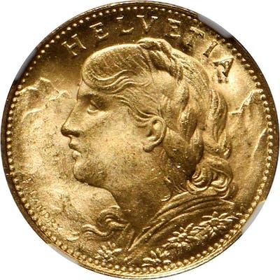 SWITZERLAND. 10 Francs, 1922-B. NGC MS-66+.