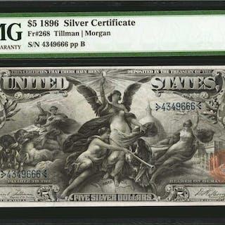 Fr. 268. 1896 $5 Silver Certificate. PMG Very Fine 30.