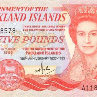 FALKLAND ISLANDS. Government of the Falkland Islands. 5 Pounds, 1983.
