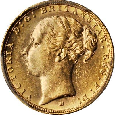 AUSTRALIA. Sovereign, 1887-M. Melbourne Mint. Victoria. PCGS MS-61 Gold Shield.