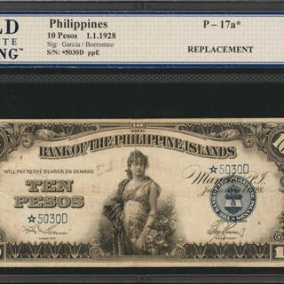 PHILIPPINES. Bank of the Philippine Islands. 10 Pesos, 1928. P-17a.