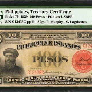 PHILIPPINES. Philippine Islands Treasury Certificate. 100 Pesos, 1929.