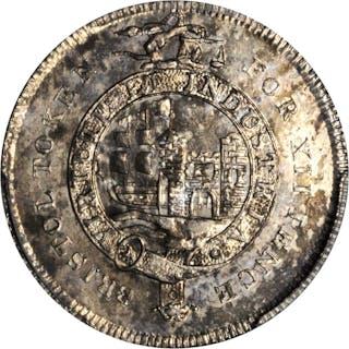 GREAT BRITAIN. Bristol. 12 Pence Silver Token, 1812. PCGS MS-63 Gold Shield.