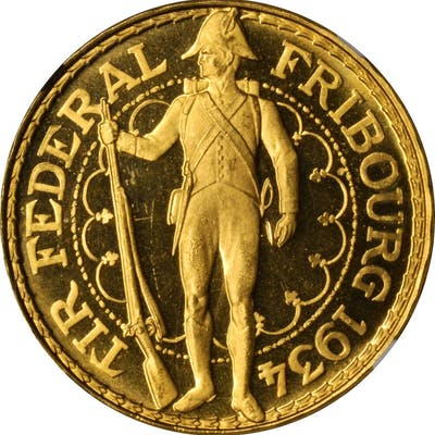 SWITZERLAND. Fribourg Shooting Festival 100 Francs, 1934-B. Bern Mint.