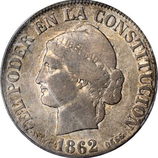 ECUADOR. 4 Reales, 1862-QUITO. Quito Mint. ANACS FINE-15.