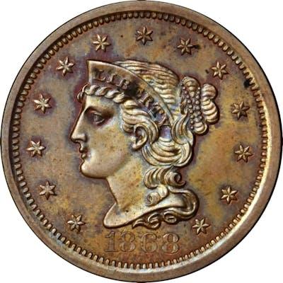 1868 Pattern Ten Cents. Judd-648, Pollock-721. Rarity-6+. Copper.