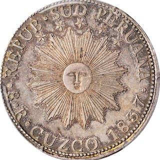 PERU. South Peru. 8 Reales, 1837-CUZCO BA. Cuzco Mint. PCGS Genuine--Graffiti