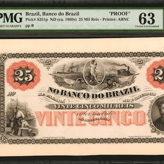 BRAZIL. Banco do Brazil. 25 Mil Reis, ND (ca. 1860s). P-S251p. Proof.