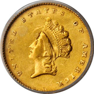 1854 Gold Dollar. Type II. AU-50 Details--Bent (ANACS).