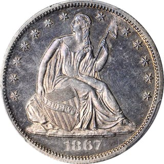 1867 Liberty Seated Half Dollar. Proof-62 (PCGS).