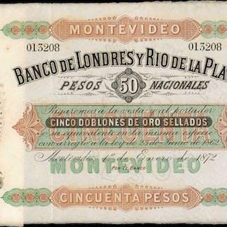 URUGUAY. Banco de Londres y Rio de la Plata. 50 Pesos, 1874. P-S238. Very Fine.
