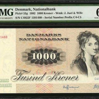 DENMARK. Danmarks Nationalbank. 1000 Kroner, 1992. P-53g. PMG Gem